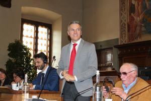 L'intervento del sindaco di Ebensee, Markus Siller, che ricorda l'importanza di questo gemellaggio.
